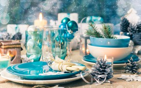 Picture spruce, Candles, New year, Dishes, Bumps, Toys, Decor