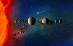 Wallpaper Uranium, Venus, Mercury, Neptune, Jupiter, Solar System, Planets in Solar System, Earth, comet, stars, Mars, ...