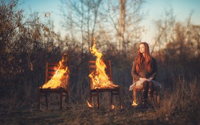 Picture girl, fire, chairs
