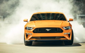 Wallpaper smoke, 2018, Mustang GT, Fastback Sports, Ford