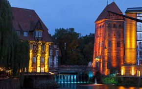 Wallpaper Luneburg, tower, Lower Saxony, Germany, lights