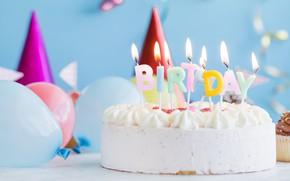 Wallpaper holiday, balls, candles, cake, birthday