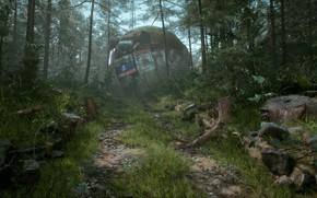 Picture forest, ball, stumps, Swedish Mechs - A Simon Stålenhag Tribute, fall daylight sphere