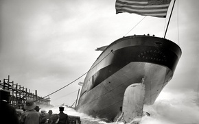 Picture retro, ship, flag, USA, launching