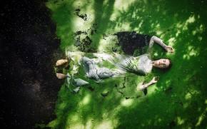 Picture girl, dress, sponge, in the water, duckweed, Alexandra Cameron