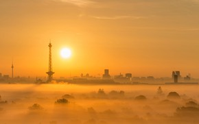 Picture sunset, fog, tower, The sun, Germany, panorama, Berlin