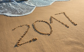 Picture New Year, new year, beach, sea, sand, 2017