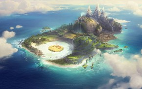 Picture mountains, island, waterfall, Piggy Island, rovio piggyisland