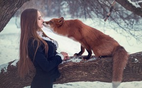 Picture girl, tree, the situation, kiss, Fox, red, long hair, Sergei Grablev
