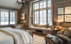 Wallpaper bedroom, window, bed, chair, design