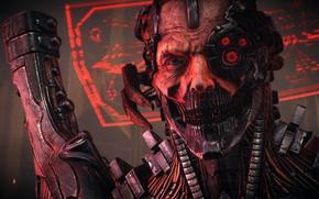 Picture red, gun, monster, weapon, machine, man, face, assassin, evil, cyborg, head, Bombshell, hitokiri