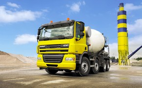 Picture yellow, industrial zone, tractor, DAF, DAF, 8x4, concrete mixer, DAF CF85.360
