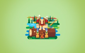 Picture forest, mountains, lake, river, fire, axe, log, the fire, Lumberjack, Lumberjack