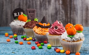 Picture holiday, decoration, cream, heluin, cupcakes