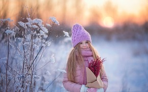Picture winter, snow, smile, hat, girl