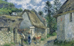 Picture house, picture, the urban landscape, Camille Pissarro, A street in Auvers Thatched Hut and a …