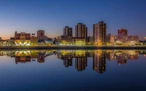Picture twilight, river, sunset, Argentina, dusk, reflection, blue hour, cityscape, Buenos Aires, urban scene, River of ...