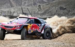 Picture Auto, Sport, Machine, Speed, Race, Skid, Peugeot, Lights, Red Bull, 308, Rally, Dakar, Dakar, SUV, …