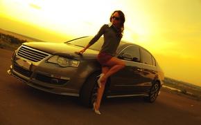 Picture auto, look, girl, background, Girls, Volkswagen, glasses