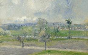 Picture landscape, picture, Camille Pissarro, Rain Effect in Valhermeil. Auvers-sur-Oise