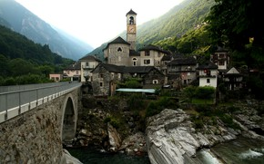 Picture Switzerland, Mountains, River, Lavertezzo