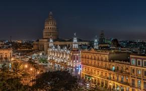 Wallpaper Cuba, night, Old Havana, Havana, lights, Havana