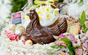 Picture chocolate, eggs, chicken, Easter