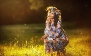 Picture grass, girl, pose, mood, dress, wreath, Vadim Miller