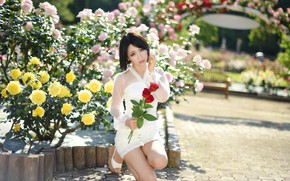 Picture summer, girl, flowers, face, dress