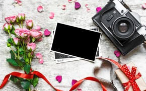 Picture flowers, photo, pink roses, gifts, pink, wood, camera, love, decoration, photo, vintage, frame, bouquet, Valentine's …