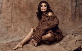 Picture girl, pose, style, retro, model, makeup, girl, sitting, fashion, retro, model, brunette, portrait, sweater, wool