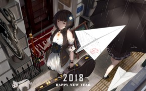 Picture girl, dog, anime, Paper airplane