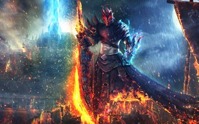 Wallpaper fire, sword, Guild Wars 2, art, Dragonhunter