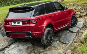 Picture stones, vegetation, SUV, Land Rover, side, feed, black and red, four-door, Range Rover Sport Autobiography