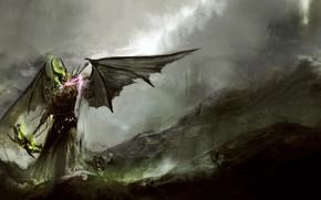 Picture skull, wings, the demon, horns, theDURRRRIAN, mezzadri
