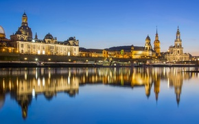Picture lights, river, Germany, Dresden, panorama