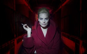 Wallpaper girl, cigarette, coat, Terminal, Margot Robbie