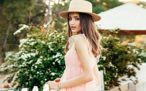 Picture look, girl, the fence, portrait, hat, makeup, garden, dress, hairstyle, brown hair, beautiful, the bushes, …