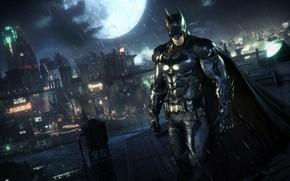 Picture Night, The city, The game, The moon, Rain, Batman, Costume, City, Hero, Mask, Moon, Cloak, …