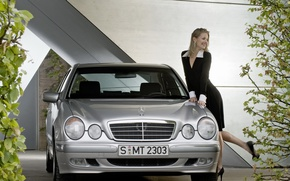 Picture auto, girl, smile, Girls, Mercedes