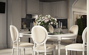 Picture Kitchen&Dinning room, furniture, interior, the room, bouquet