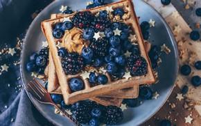 Picture berries, waffles, BlackBerry, blueberries