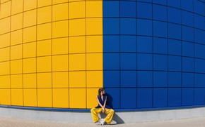 Picture blue, yellow, wall, color, yellow and blue