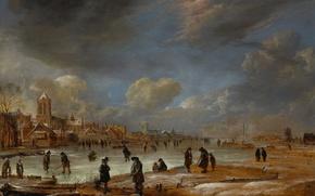 Picture landscape, tree, oil, picture, Art van der NEER, River view in Winter