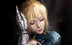Picture girl, anime, face, blonde, digital art, artwork, warrior, fantasy art, knight, Fate/Zero, glove, closed eyes, …