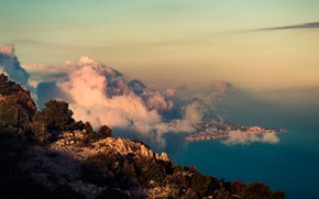 Picture sea, clouds, trees, stones, rocks, coast, height, the view from the top, Monaco