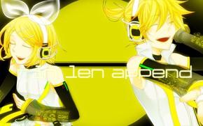 Picture yellow, round, two, Vocaloid, Vocaloid, Kagamine Len, Kagamine Rin