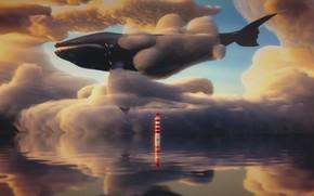 Picture sea, the sky, lighthouse, fantasy, kit, 3D graphics, by IkyuValiantValentine, Valiant Valentine, Dreamy Sky