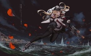 Picture water, girl, weapons, petals, anime, art, Kantai Collection
