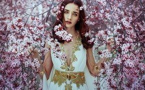 Picture look, girl, branches, tree, mood, spring, dress, flowering, flowers, Ximena Olavarria Designer